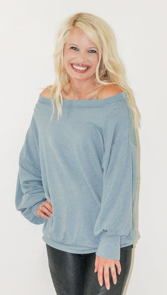 CRUSH ON YOU ONE SHOULDER TOP IN DUSTY BLUE-Tops-MODE-Couture-Boutique-Womens-Clothing