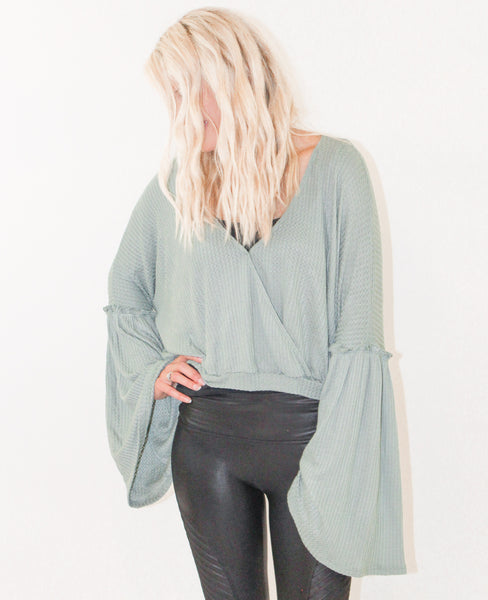 TALK OF THE TOWN WAFFLE KNIT TOP IN DUSTY MINT-Tops-MODE-Couture-Boutique-Womens-Clothing