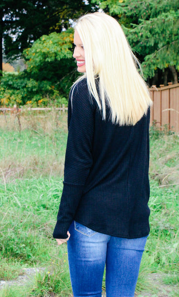 NO MATTER WHAT WAFFLE KNIT THERMAL TOP IN BLACK-Tops-MODE-Couture-Boutique-Womens-Clothing