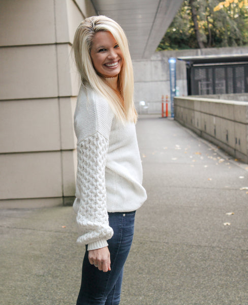 FREE SPIRIT BALLOON SLEEVE SWEATER IN IVORY-Sweaters-MODE-Couture-Boutique-Womens-Clothing