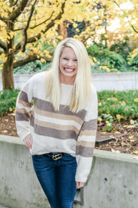 CARAMEL MACCHIATO STRIPED SWEATER IN IVORY COMBO-Sweaters-MODE-Couture-Boutique-Womens-Clothing