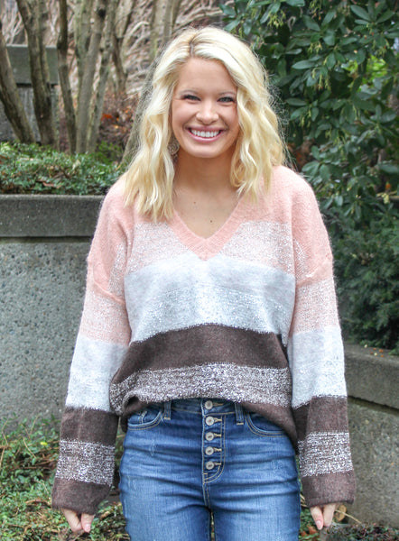 SHINE BRIGHT SEQUIN SWEATER IN PINK COMBO-Sweaters-MODE-Couture-Boutique-Womens-Clothing