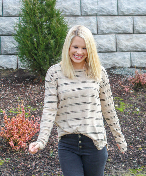 JUST MY STRIPE TOP IN TAN-Tops-MODE-Couture-Boutique-Womens-Clothing