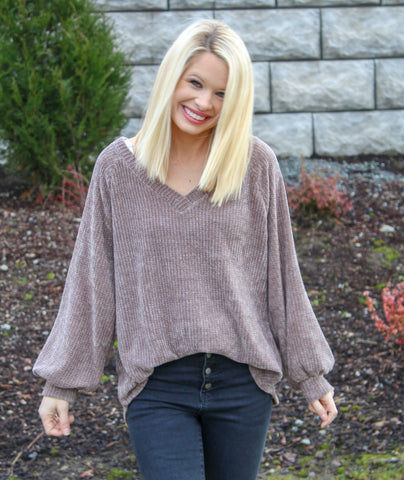 YOU MOCHA ME CRAZY CHENILLE KNIT TOP-Sweaters-MODE-Couture-Boutique-Womens-Clothing