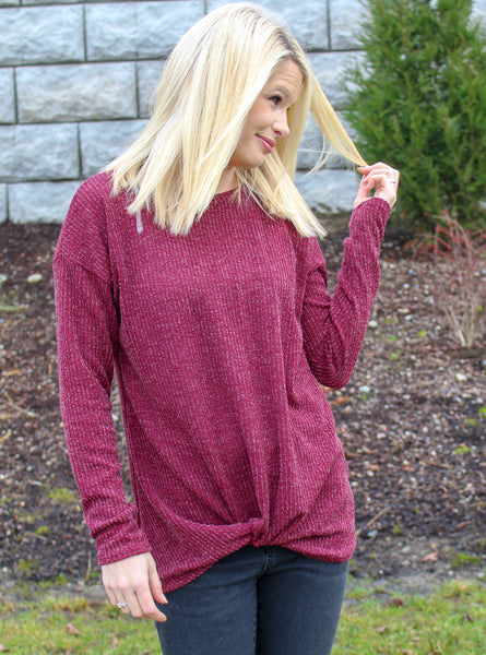 TALK KNOTTY TO ME TOP IN WINE-Tops-MODE-Couture-Boutique-Womens-Clothing
