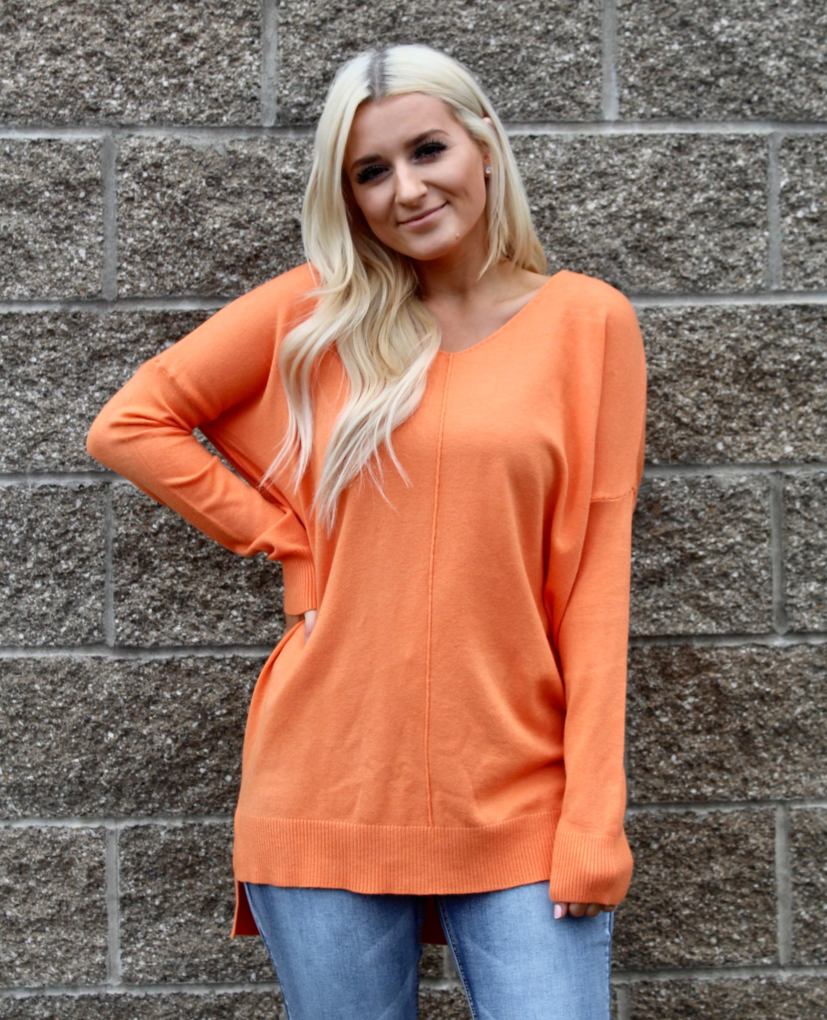 BLAKELY FRONT SEAM SWEATER IN ORANGE-Sweaters-MODE-Couture-Boutique-Womens-Clothing