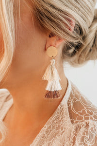 SKY IS THE LIMIT FRINGE DANGLE EARRINGS IN IVORY-EARRINGS-MODE-Couture-Boutique-Womens-Clothing