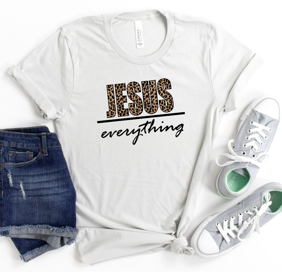 JESUS OVER EVERYTHING GRAPHIC TEE IN SILVER-GRAPHIC TEES-MODE-Couture-Boutique-Womens-Clothing