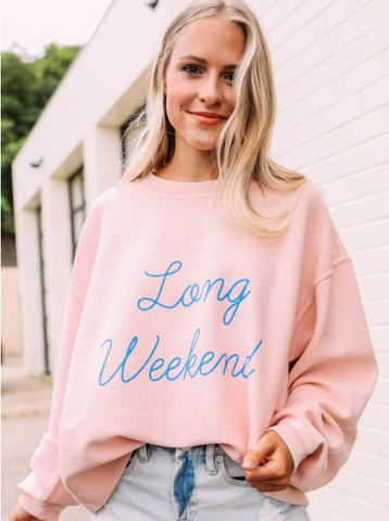 FRIDAY + SATURDAY LONG WEEKEND CORDED CREWNECK PULLOVER SWEATSHIRT IN PINK-Graphic Sweatshirt-MODE-Couture-Boutique-Womens-Clothing