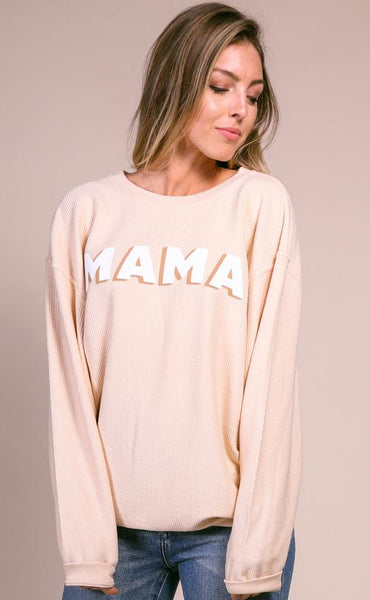FRIDAY + SATURDAY MAMA CORDED CREWNECK PULLOVER SWEATSHIRT IN MUSTARD-Graphic Sweatshirt-MODE-Couture-Boutique-Womens-Clothing
