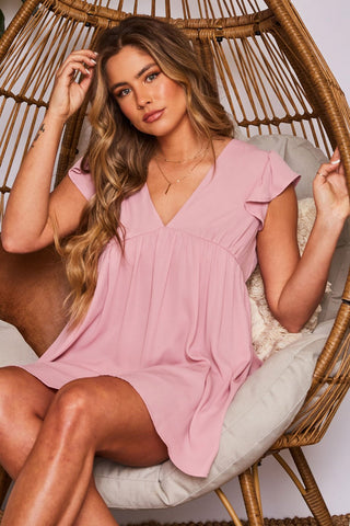 DARCY V-NECK RUFFLED SLEEVE MINI DRESS IN MAUVE-Dresses-MODE-Couture-Boutique-Womens-Clothing