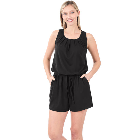 LAKE DAZE BRUSHED ROMPER WITH POCKETS IN BLACK-ROMPER-MODE-Couture-Boutique-Womens-Clothing