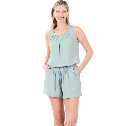 LAKE DAZE BRUSHED ROMPER WITH POCKETS IN LIGHT GREEN-ROMPER-MODE-Couture-Boutique-Womens-Clothing