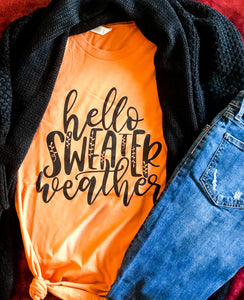 HELLO SWEATER WEATHER GRAPHIC TEE IN ORANGE-Graphic Tees-MODE-Couture-Boutique-Womens-Clothing
