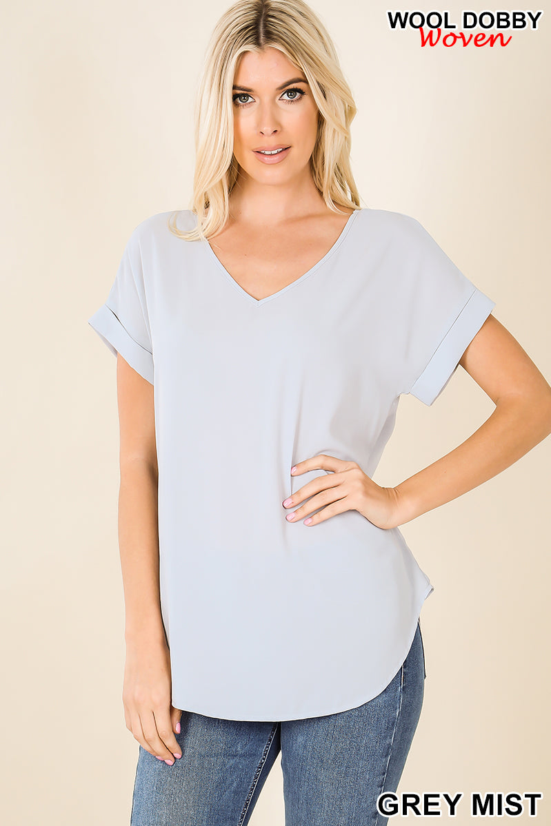 NINE TO FIVE SHORT CUFF SLEEVE V-NECK-TOP IN LIGHT GRAY-BLOUSE-MODE-Couture-Boutique-Womens-Clothing