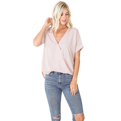 DAY TO NIGHT DOBBY DRAPED FRONT TOP IN DUSTY BLUSH-BLOUSE-MODE-Couture-Boutique-Womens-Clothing