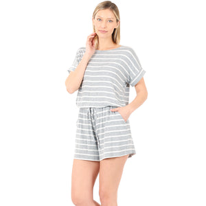 STROLLING THE STREETS STRIPED ROMPER WITH POCKETS IN HEATHER GRAY-ROMPER-MODE-Couture-Boutique-Womens-Clothing