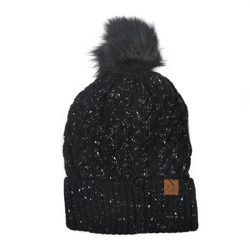 MAGICAL SLEIGH RIDE SPECKLED KNIT POM POM HAT-Hats-MODE-Couture-Boutique-Womens-Clothing