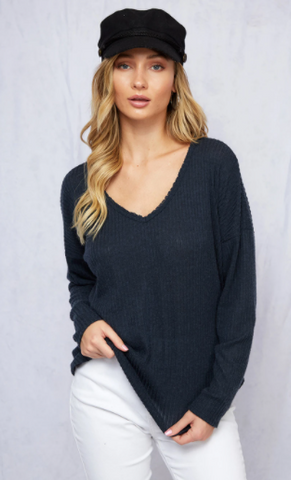 DAISHA LONG SLEEVE MELANGE V NECK IN NAVY-Tops-MODE-Couture-Boutique-Womens-Clothing