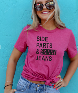 SIDE PARTS & SKINNY JEANS SHORT SLEEVE GRAPHIC TEE IN PINK-GRAPHIC TEE-MODE-Couture-Boutique-Womens-Clothing