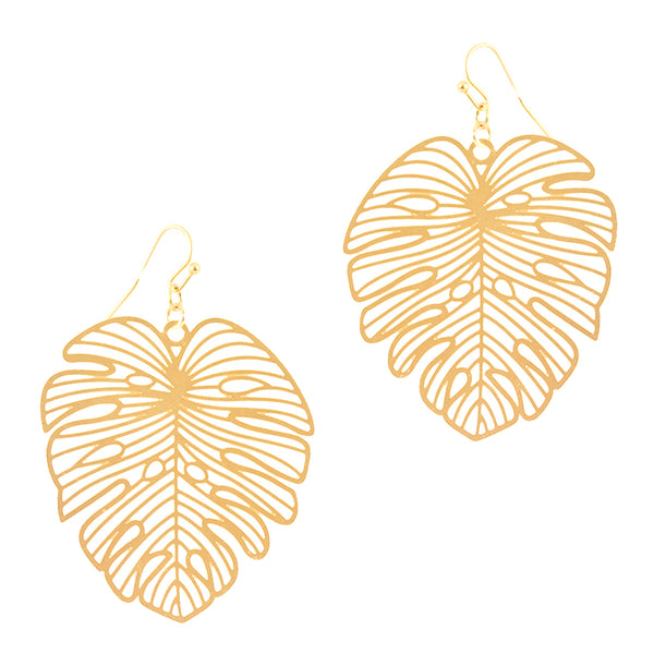 TROPIC DREAMS PALM FROND EARRINGS IN GOLD-EARRINGS-MODE-Couture-Boutique-Womens-Clothing