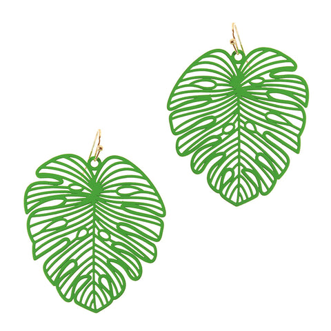 TROPIC DREAMS PALM FROND EARRINGS IN GREEN-EARRINGS-MODE-Couture-Boutique-Womens-Clothing