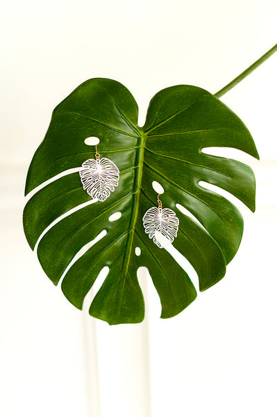 TROPIC DREAMS PALM FROND EARRINGS IN WHITE-EARRINGS-MODE-Couture-Boutique-Womens-Clothing