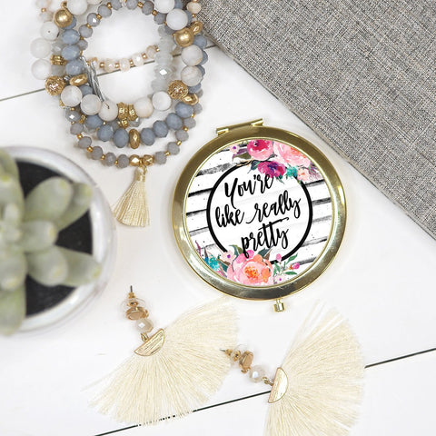 COMPACT COSMETIC MIRROR IN YOU'RE LIKE REALLY PRETTY-COSMETIC MIRROR-MODE-Couture-Boutique-Womens-Clothing