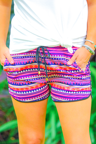 RACHEL AZTEC DRAWSTRING EVERYDAY SHORTS IN MULTI-SHORTS-MODE-Couture-Boutique-Womens-Clothing