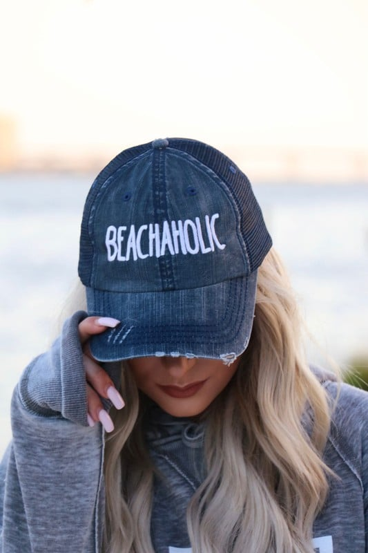 BEACHAHOLIC TRUCKER HAT IN NAVY-Hats-MODE-Couture-Boutique-Womens-Clothing