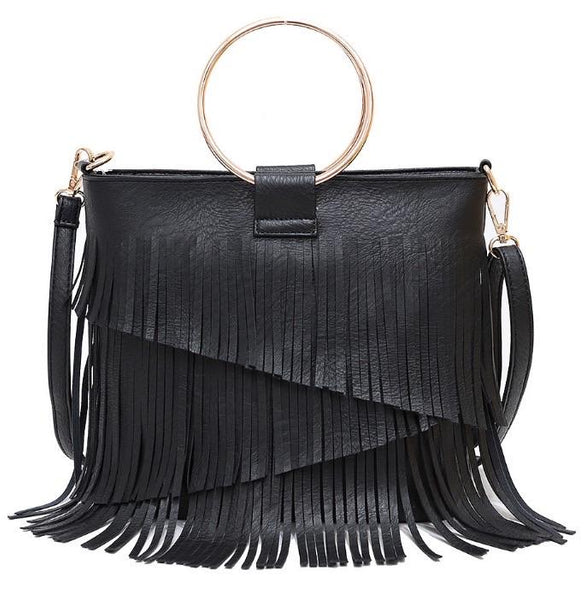 SASHA FRINGE LEATHER BAG IN BLACK-Purses-MODE-Couture-Boutique-Womens-Clothing