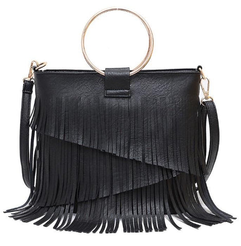 SASHA FRINGE LEATHER BAG IN BLACK-Accessories-MODE-Couture-Boutique-Womens-Clothing