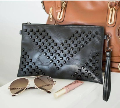 PIXIE STUDDED CLUTCH IN BLACK-Accessories-MODE-Couture-Boutique-Womens-Clothing