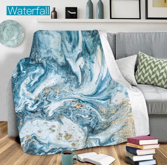 COVERED IN COZY MARBLED BLANKET IN WATERFALL-Blanket-MODE-Couture-Boutique-Womens-Clothing