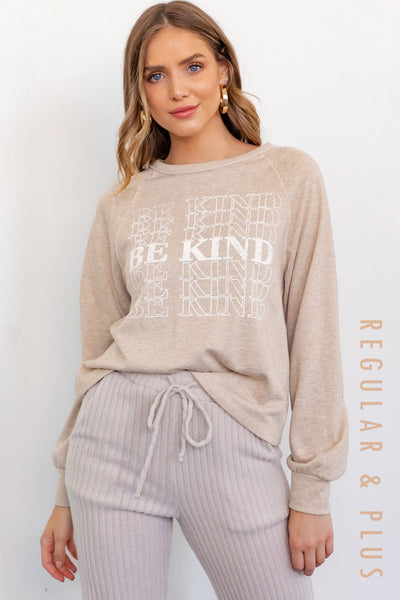 BE KIND CREW NECK GRAPHIC SWEATSHIRT IN TAUPE-Graphic Sweatshirt-MODE-Couture-Boutique-Womens-Clothing
