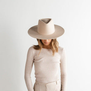 GIGI PIP DAKOTA TRIANGLE CROWN IN CREAM-HATS-MODE-Couture-Boutique-Womens-Clothing