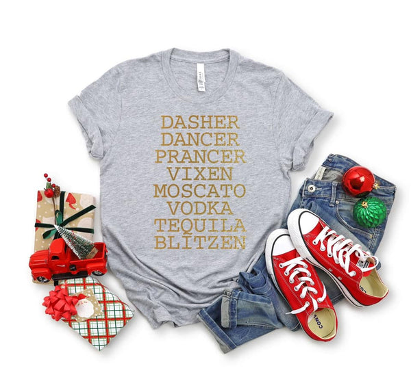 DRUNK REINDEER GRAPHIC TEE IN GRAY-Graphic Tees-MODE-Couture-Boutique-Womens-Clothing