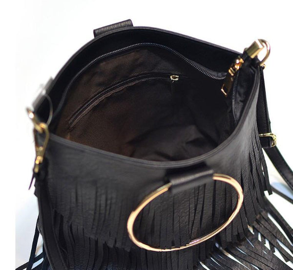 SASHA FRINGE LEATHER BAG IN CAMEL-Purses-MODE-Couture-Boutique-Womens-Clothing