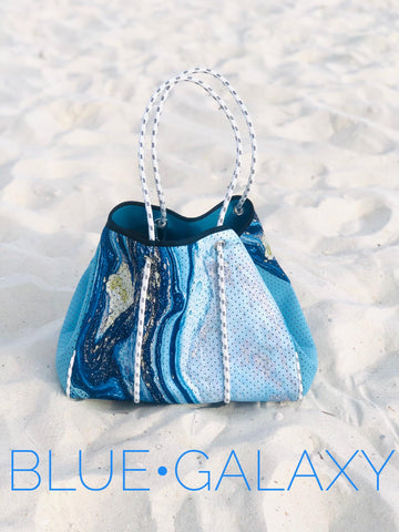 LUXE NEOPRENE HOBO BEACH BAG IN GEODE GALAXY BLUE-BAGS-MODE-Couture-Boutique-Womens-Clothing