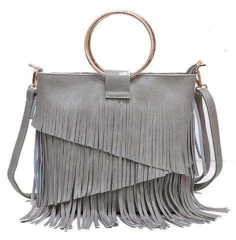 SASHA FRINGE LEATHER BAG IN GRAY-Accessories-MODE-Couture-Boutique-Womens-Clothing