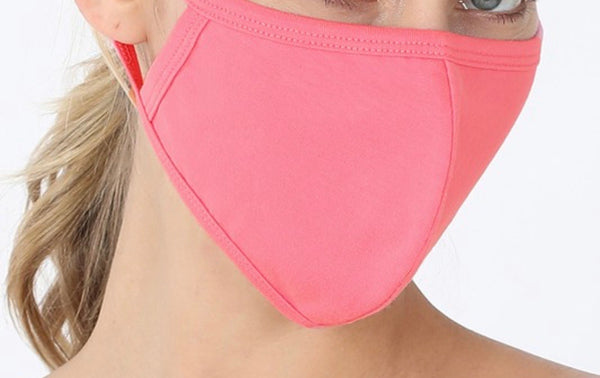 SOLID ADULT FACE MASK IN BRIGHT PINK-FACE MASKS-MODE-Couture-Boutique-Womens-Clothing