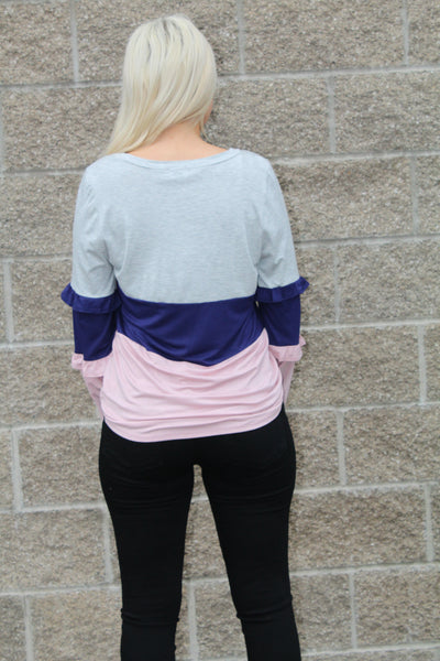 BRITTANY RUFFLE PULLOVER TOP IN NAVY COMBO-Tops-MODE-Couture-Boutique-Womens-Clothing