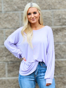ELSA PUFF SLEEVE TUNIC TOP IN PURPLE-Tops-MODE-Couture-Boutique-Womens-Clothing