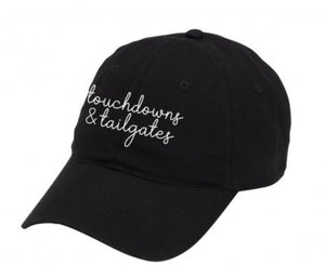 TAILGATES & TOUCHDOWNS BLACK CAP-Hats-MODE-Couture-Boutique-Womens-Clothing
