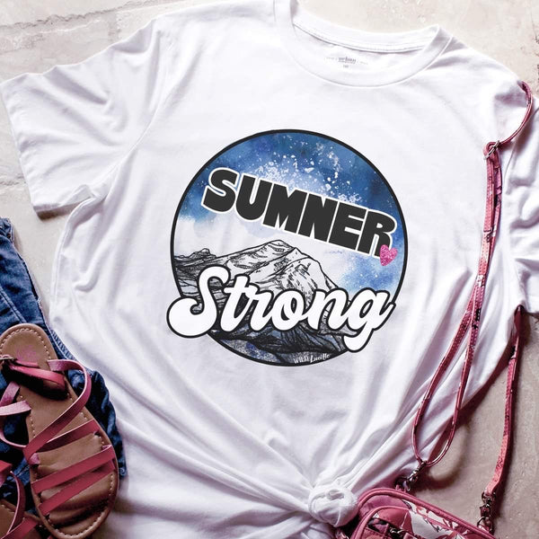 SUMNER STRONG UNISEX TEE WITH HEART IN WHITE (PRE-ORDER)-FUNDRAISER TEES-MODE-Couture-Boutique-Womens-Clothing