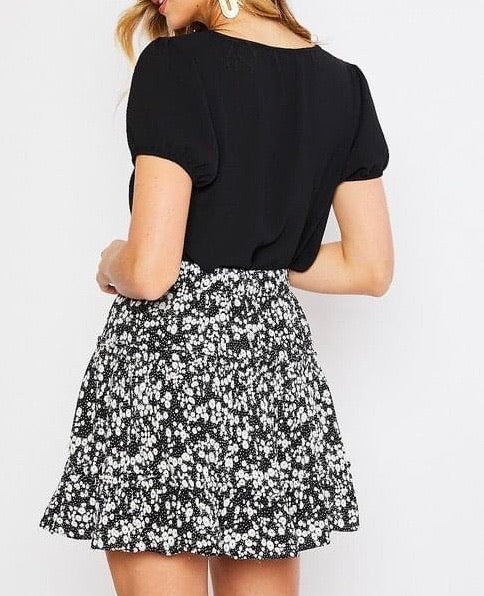 KATE TWO TIER FLORAL MINI SKIRT IN BLACK-SKIRTS-MODE-Couture-Boutique-Womens-Clothing