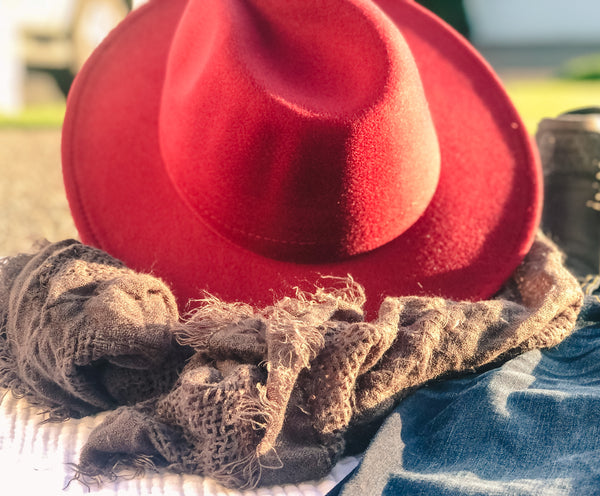 REVERIE WIDE BRIM ADJUSTABLE FELT BOHO FEDORA HAT-Hats-MODE-Couture-Boutique-Womens-Clothing
