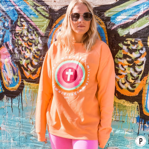 WAY MAKER CREWNECK SWEATSHIRT IN ORANGE-Graphic Sweatshirt-MODE-Couture-Boutique-Womens-Clothing