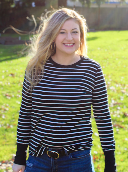 STACIE STRIPED LONG SLEEVE TOP IN BLACK & WHITE-Tops-MODE-Couture-Boutique-Womens-Clothing