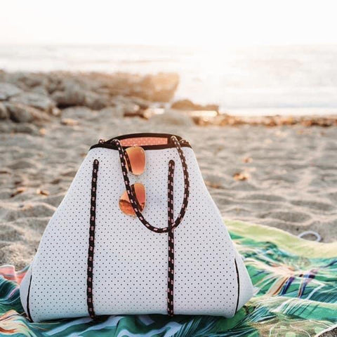 LUXE NEOPRENE HOBO BEACH BAG IN WHITE-BAGS-MODE-Couture-Boutique-Womens-Clothing